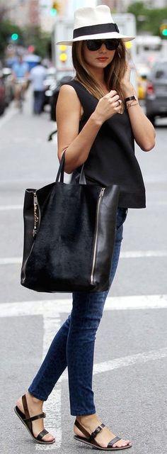 WINE FESTIVALS HERE I COME // street style Miranda Kerr casual : fedora + denim @wachabuy