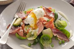 Hot-smoked salmon with peas and a poached egg