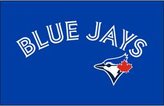 Toronto Blue Jays Jersey Logo (2012) - Blue Jays arched in blue and white split lettering on blue above the blue jay head logo, worn on Toronto Blue Jays alternate jerseys beginning with the 2012 season