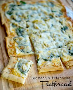This Spinach & Artichoke Flatbread made with baby spinach, artichoke ...