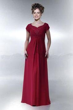 A-Line Red Chiffon Light V-Neck Short Sleeves Empire Waist Pleated And Applique Design Floor Length  Dresses/Evening Dresses  MOBD007