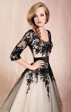 In Stock Sheer Floral Prom Ball Formal Party Gowns Lace Yarn Gauze Dress White and black Evening Bridal Picture color $88.00