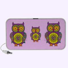 Purple Psychedelic Owl Music Speakers $44.95