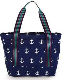 Navy Anchor Chunky Zip Closure Cotton Canvas Tote #bags, #fashion, #pinsland, https://apps.facebook.com/yangutu