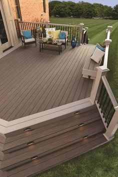 View our Outdoor Living Design ideas. Get inspiration for your Outdoor Living area with our Deck Design Ideas. See Deck colors, Railing options & more. Patio Plan, Deck Plans, Deck Colors, Deck Stain Colors, Casa Patio, Cozy Backyard, Sloped Backyard, Backyard Patio Designs, Backyard Deck Ideas On A Budget