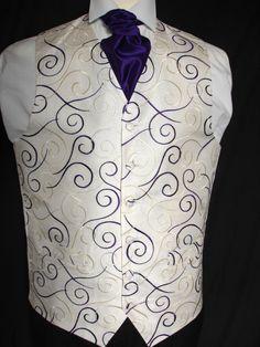 Mens NEW Ivory/Purple Swirl Wedding Suit Waistcoat