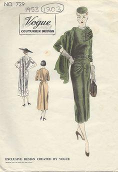 1953 Vintage VOGUE Sewing Pattern B30 DRESS (1203) 34