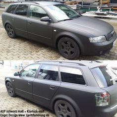 Audi gedippt mit AutoSprühFolie schwarz matt und als Finish AutoSprühFolie Klarlack matt - Engel Design