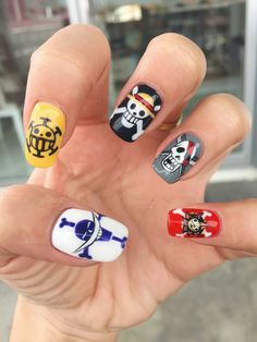 Nail art one one piece drapeau - Doctor Pin Purple Nails, Bling Nails, Aycrlic Nails, Hair And Nails, One Piece Anime, Love Nails, Pretty Nails, Pirate Nail Art, Mens Nails