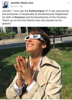 I just saw the ! It was spectacular and emotional. It inexplicably & simultaneously heightened my faith in and the beneficence of the Universe. Thank you to the kind Danish man who loaned me his glasses. 📷by Adam Danish Men, Jennifer Beals, Mirrored Sunglasses, The Incredibles, Photo And Video, Lady, Women, Connect, Universe