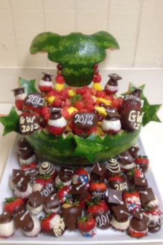 Longhorn Watermelon & Graduation Strawberries I made for Kendall's Grad Party