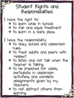 This is great!  If the student doesn't follow these, they could take one home with a note to the parent.  The student could copy their rights and responsibilities for homework.  Could use for handwriting practice or as a writing assignment at the beginning of the year. :)