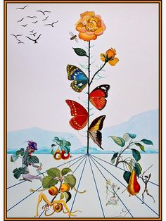 """""""BUTTERFLY ROSE : Vintage Abstract Dali Painting Print"""" Photographic Print by posterbobs   Redbubble Butterfly Frame, Butterfly Print, Dali Paintings, Surrealism Painting, Framed Prints, Poster Prints, Posters, Wall Collage, Wall Art"""