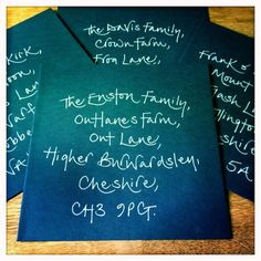LAURA & DAVID'S WEDDING This Wedding was held in England, in June 2013.  Laura sourced her own stationary. I wrote the guest's addresses in white ink directly onto the ribbed navy blue envelopes. I also added their names to the invitations and the place cards in navy blue ink.