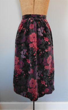 Clearance Velvet Floral Skirt  Vintage Women's 70s by MDMvintage, $12.00
