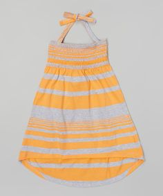 This Longstreet Orange Stripe Halter Maxi Dress - Toddler & Girls by Longstreet is perfect! #zulilyfinds