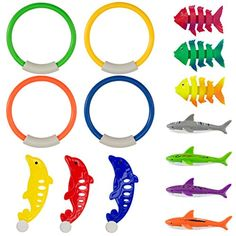 PAMASE Swimming Diving Toys Pool Fun Rings for Kids - Pool Diving Game Toys Set in Total 14 Pcs Including 4 Diving Rings, 4 Diving Shark Toys, 3 Tropical Fish Toys and 3 Dolphin Toys Swimming Diving, Underwater Swimming, Indoor Swimming Pools, Pool Fun, Kid Pool, Mermaid Pool, Best Kids Toys, Pool Toys
