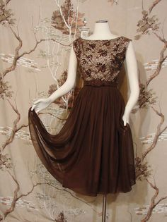 DRESS  Cocktail  Sequined  Brown  Circa 1960's  by HipKittyVintage, $85.00