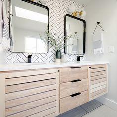Incredible Bathroom Vanity Transformation! Bathroom Inspo, Bathroom Ideas, Shower Remodel, Scandinavian Modern, Double Vanity, Minimalism, Cape Cod, Home, Bathrooms