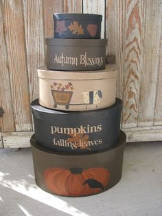 Primitive Fall Theme Set of 5 Oval Hand Painted Stacking Boxes with Pumpkins Leaves and Sheep. Primitive antiqued fall set of 5 stack boxes.