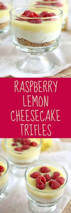 Raspberry Lemon Cheesecake Trifles - Rose Bakes #recipe #dessert #trifle #raspberry #lemon #cheesecake