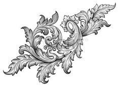 flower engraving: Vintage baroque défilement leaf frame ornement floral Gravure frontière rétro modèle tourbillon de style ancien élément de design décoratif vecteur de filigrane noir et blanc