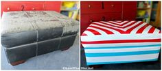 Cracked & peeling leather ottoman? Revive it with duct tape!