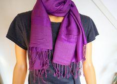 Purple Pashmina and Silk Scarf / Shawl / Evening Wrap
