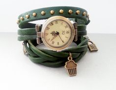 Green leather long strap watch wrap Love Womens by MKedraDecoupage, $28.00