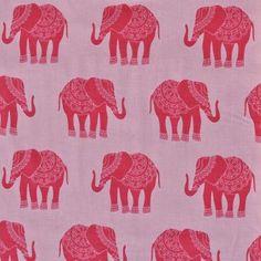 Stoff & Liebe – Kinderstoffe & Unikate | Madhuri India Elephant Pink | Stoffe online kaufen