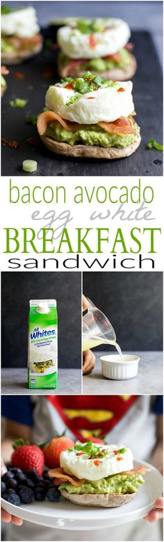 Easy 15 Minute Bacon Avocado Egg White Breakfast Sandwich, An Easy Power Breakfast With 15 Grams Of Protein And Only 279 Calories Per Serving Egg White Breakfast, Power Breakfast, High Protein Breakfast, Healthy Breakfast Recipes, Clean Eating Recipes, Easy Healthy Recipes, Brunch Recipes, Healthy Snacks, Breakfast Ideas
