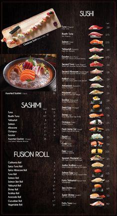 Fusion Sushi Japanese Restaurants - Manhattan Beach and Long Beach in California Menue Design, Food Menu Design, Restaurant Menu Design, Sushi Menu, Sushi Party, Ramen Comida, Sushi Guide, Sushi Roll Recipes, Japanese Menu
