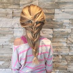 Loose fishtail mermaid braid with crimped texture from braiding_tgirls