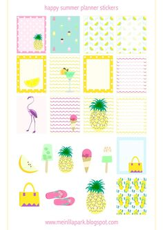 Free Printable Happy Summer Planner Stickers from MeinLilaPark