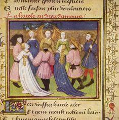 La carole au Dieu Amour - Roman de la Rose, détail - vers 1420-1430 (8,8 × 7,7 cm- - Osterreichische Nationalbibliothek