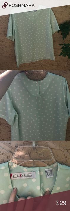 Vintage Chaus Nordstrom Mint Blouse Just in time for spring! 🌺 This vintage mint green polka dot shirt is in wonderful condition! 💕 it's light and airy, sexy and yet modest. Made of 100% polyester. OPEN TO OFFERS, NEXT BUSINESS DAY SHIPPING 🎉🎊 Nordstrom Tops Blouses