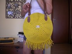 Your place to buy and sell all things handmade Crochet Shoulder Bags, Round Bag, Crochet Round, Corfu, Day Bag, Summer Bags, Summer Colors, Fringes, Straw Bag