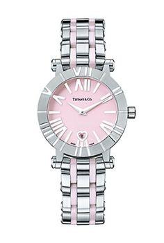 Швейцарские часы Tiffany & Co Atlas 26860202 - женские наручные часы - белые, розовые - стальные с платиновым браслетом
