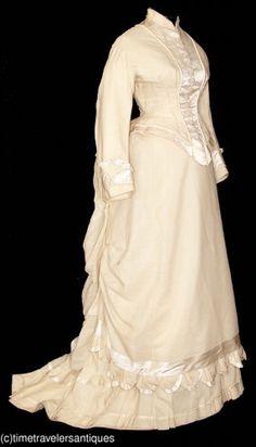 c1878 Ivory Silk Bustle Gown