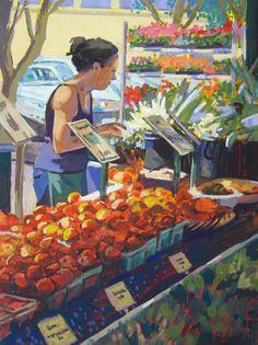 Ann Arbor's Farmer's Market --gouache painting by Jill Stefani Wagner.  www.jillwagnerart.com