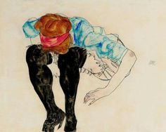 Egon Schiele - Blond Girl, Leaning Forward With Black Stockings 1912