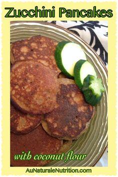 Zucchini pancakes with coconut flour.  YUM!  Grain & gluten free.  Low-carb.