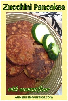Zucchini pancakes with coconut flour.  YUM!  Grain & gluten free.  Low-carb.