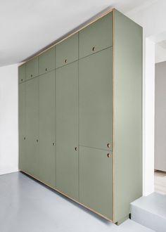 Reform's kitchen design BASIS linoleum in the color 'Olive.' It's an IKEA hack. Wardrobe Door Designs, Wardrobe Design Bedroom, Closet Bedroom, Wardrobe Cabinets, Wardrobe Doors, Built In Wardrobe, Ikea Wardrobe Hack, Küchen Design, House Design