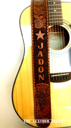 Custom Designed Hand Tooled Leather Guitar Strap - Antique Tan Personalized Guitar Strap