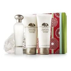 Origins Ginger Ways 4 Pcs Gift Set: Ginger Souffle Whipped Body Cream + Ginger Burst Savory Body Wash + Ginger Essence Sensuous Skin Scent + Body Puff by Origins. $75.50. Ginger Essence Sensuous Skin Scent - 1.7 oz. Ginger Souffle Whipped Body Cream - 3.4 oz. Body Puff. New in Gift Box. Ginger Burst Savory Body Wash - 3.4 oz. Origins Ginger Ways Gift Set: Ginger Souffle 100ml, Ginger Burst Savory Body Wash 100ml, Ginger Essence Sensuous Skin Scent 50ml, Body Puff
