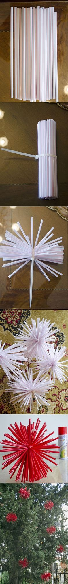Enfeites com canudinhos Faça estas estrelas usando canudinhos e decore a sua festa.... {imagem pinterest}