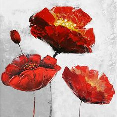 Hobbitholeco. 'Red Floral' Painting Print on Wrapped Canvas