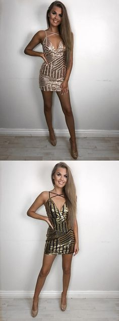 sexy champagne sheath short sequined homecoming cocktail dress#homecomingdress#cocktaildress#partydress