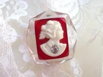 Vintage Large Chunky Carved  Deco Lucite And Celluloid Cameo $48.00